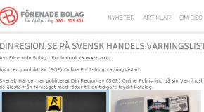 Dinregion.se på Svensk Handels Varningslista
